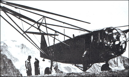 A Luftwaffe Fa 223 sits on a mountain top during a World War II rescue operation