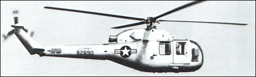 One of four U.S. Army YH-18A helicopters after conversion to the XH-39 is shown in flight over Bridgeport, Conn.