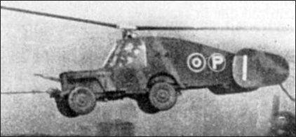 Picture of Hafner Rotabuggy, a Jeep equipped with rotor blades.