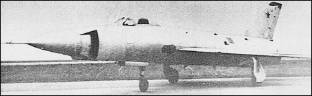 The T-49 featured box-type intakes flanking an ogival nose radome